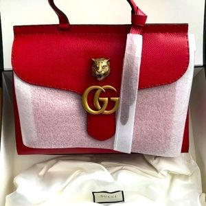Gucci GG Marmont Top Handle Red Leather Satchel
